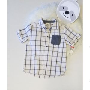 Toddler Gray and White Button Down Shirt